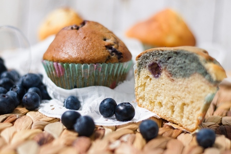 Rustic blueberry muffins, homemade, delicate gluten free pastry. One whole, one cut in half Stockfoto