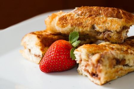 Closeup on chocolate filled rolled french toast