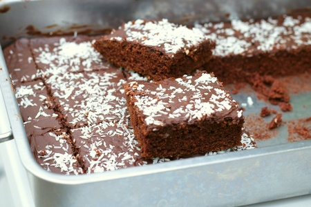 Two square shaped servings of fresh homemade brownie cake with ground coconut flakes. Light, healthy, gluten free homely baking concept Stockfoto