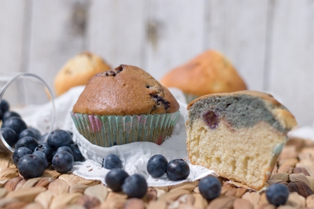 Several homemade gluten free muffins decorated by blueberries in rustic setting