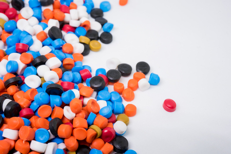 Mix Plastic pellets. Colorant for plastics. Stock Photo - 91342656