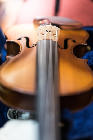 A violin in the box at the church.