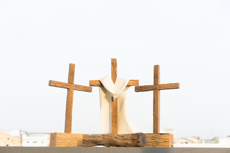3 crosses on the mountain in good friday. Reklamní fotografie - 97548818