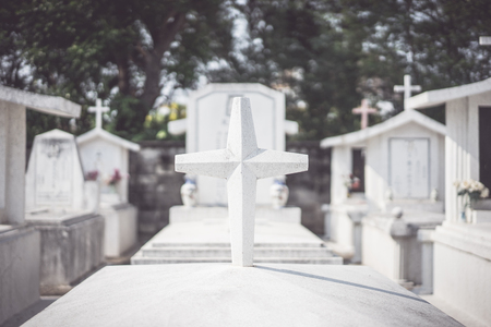Cross on tomb in Chinese Christian cemetery