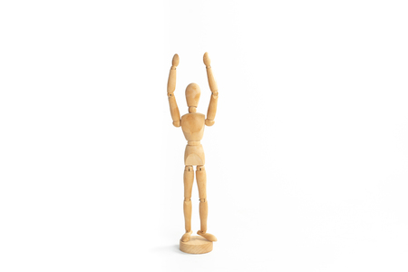 A wood figure model in worship God action with white background. Stock Photo