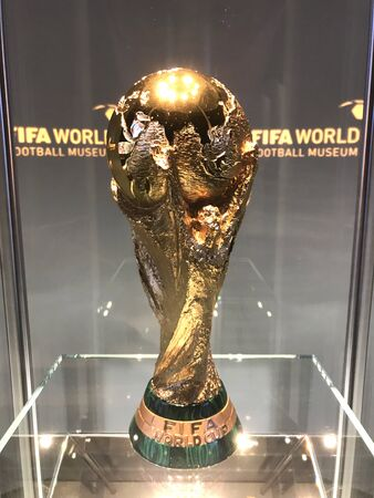 2018 Fifa world cup winner%u2019s trophy, June 2018,FIFA WORLD Football museum, Zurich, Switzerland. Editorial