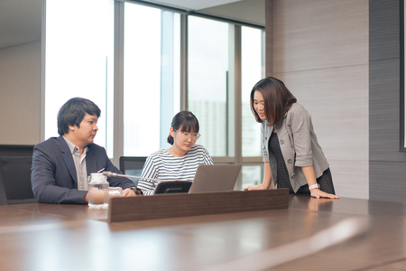 Business team show the teamwork, they are working and meeting together before present to customer. Stock Photo
