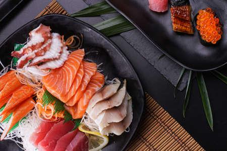 Sashimi Japanese food, Sashimi set. Salmon, wasabi, fish, shrimp in a Japanese restaurant. Standard-Bild