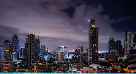 Bangkok city at night, the panorama picture of the city landscape.