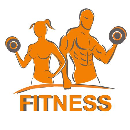 Man and woman of fitness silhouette character design. Illustration
