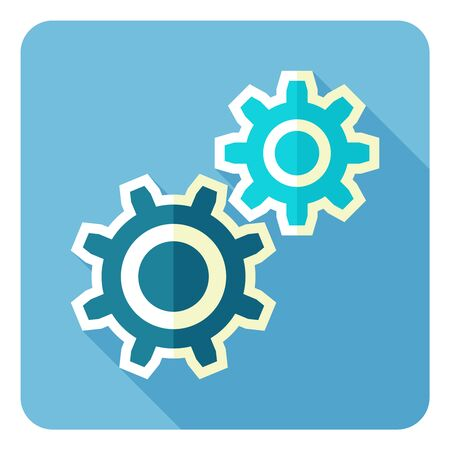Cogwheel and development icon. Flat design style. 向量圖像