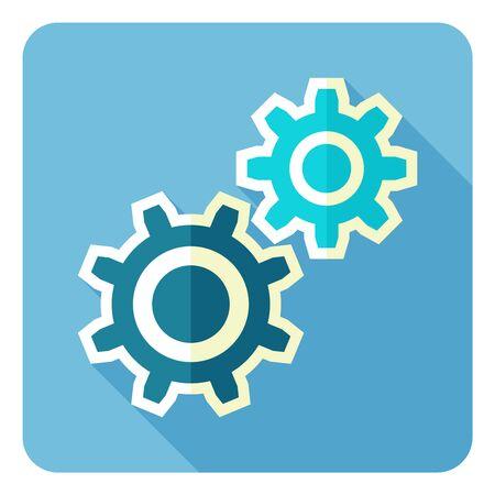 Rueda dentada y el icono de desarrollo. Estilo de diseño plano. Foto de archivo - 62693378