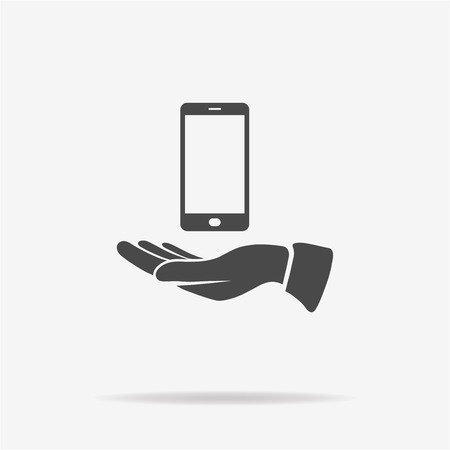 smart phone hand: Smart phone and hand icon. Vector concept illustration for design.