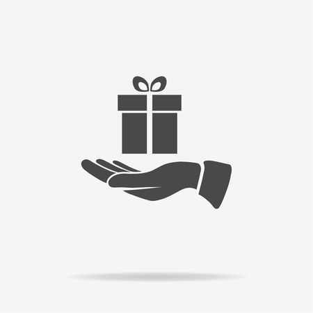 Gift and hand icon. Vector concept illustration for design. Illustration