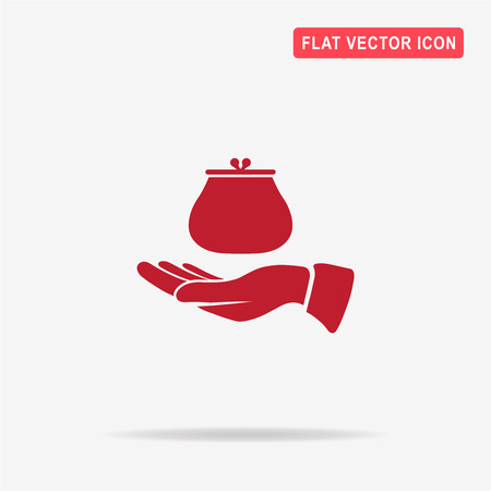Money purse and hand icon. Vector concept illustration for design.