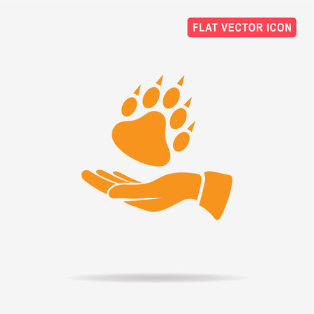 big foot: Bear paw and hand icon. Vector concept illustration for design.