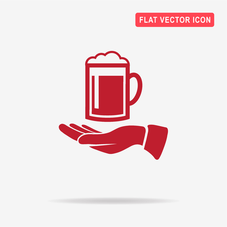 Beer and hand icon. Vector concept illustration for design. Illustration