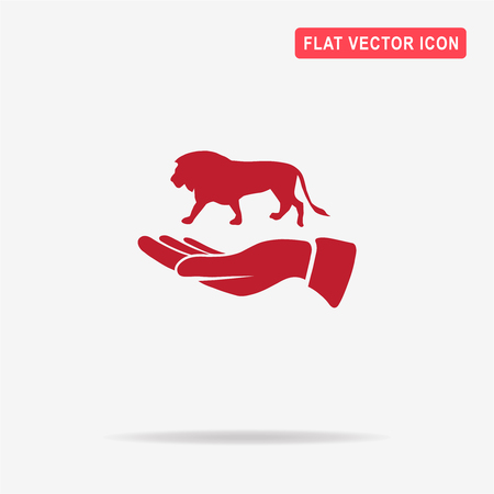 Lion and hand icon. Vector concept illustration for design. Illustration