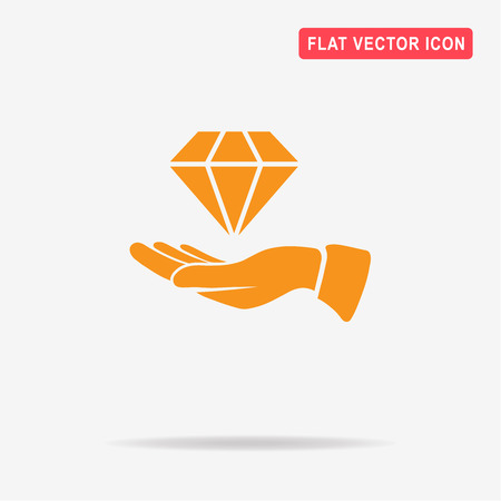 karat: Diamond and hand icon. Vector concept illustration for design.