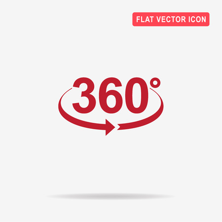 degrees: Angle 360 degrees icon. Vector concept illustration for design.