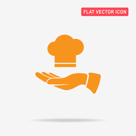Chef cap and hand icon. Vector concept illustration for design. Illustration