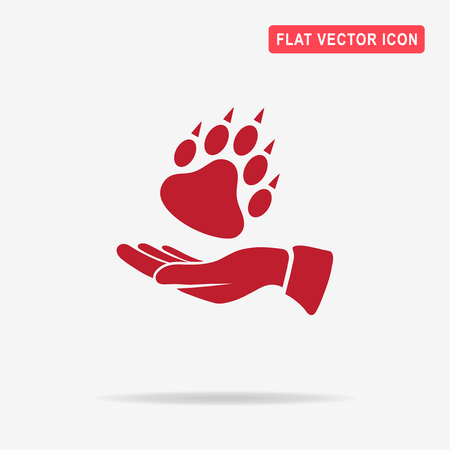 bear paw: Bear paw and hand icon. Vector concept illustration for design.