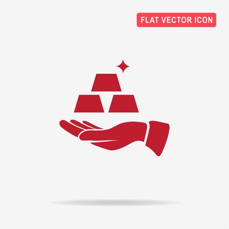 goldbar: Gold and hand. Vector concept illustration for design.