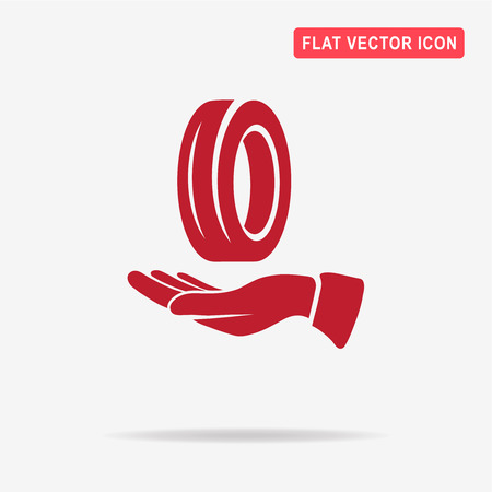 Road tire and hand icon. Vector concept illustration for design. Illustration