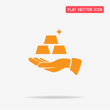 Gold and hand. Vector concept illustration for design.
