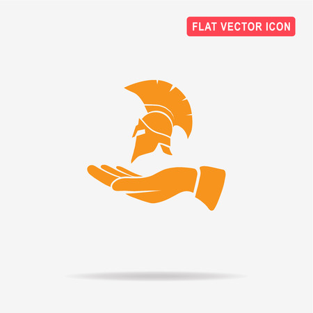antiquarian: Helmet and hand icon. Vector concept illustration for design. Illustration