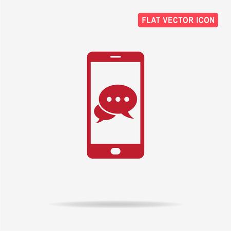 spech bubble: Mobile chat icon. Vector concept illustration for design.