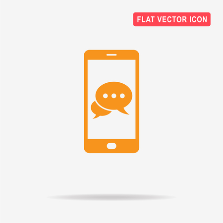 spech bubble: Mobile chat icon. Vector concept illustration for design.
