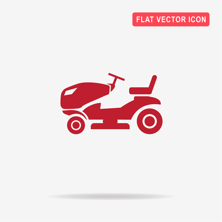 mowing the grass: Lawn tractor icon. Vector concept illustration for design.