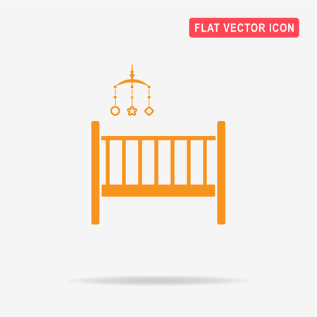 lullaby: Baby cot icon. Vector concept illustration for design.