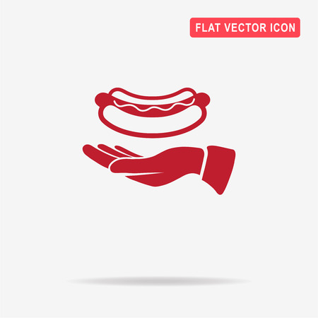 Hot dog and hand icon. Vector concept illustration for design. Illustration