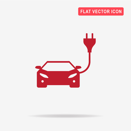 Electric car icon. Vector concept illustration for design. Illustration