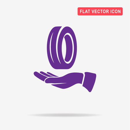 tire cover: Road tire and hand icon. Vector concept illustration for design. Illustration