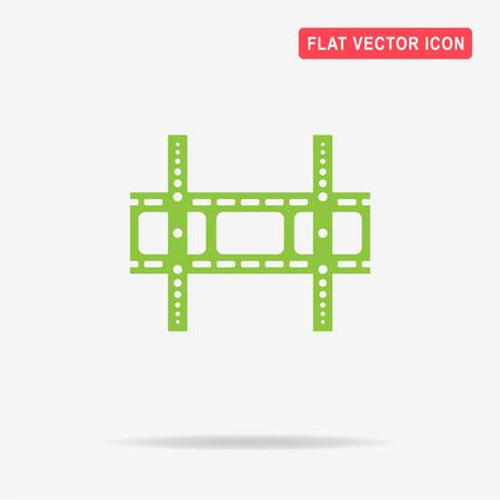 bracket: Tv wall bracket icon. Vector concept illustration for design.