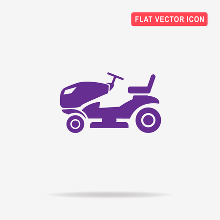 landscaped garden: Lawn tractor icon. Vector concept illustration for design.