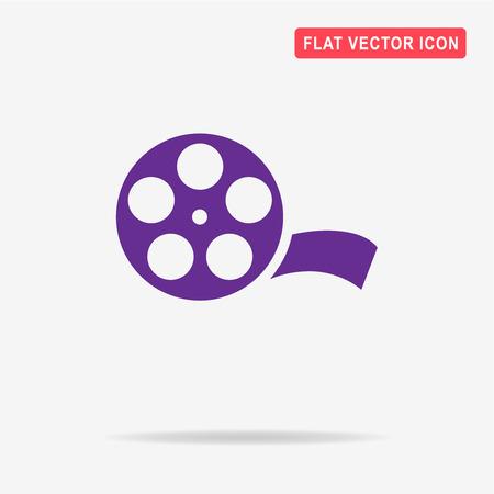 35mm film motion picture camera: Film reel icon. Vector concept illustration for design. Illustration