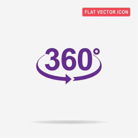 Angle 360 degrees icon. Vector concept illustration for design.