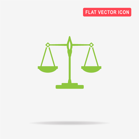 acquittal: Scales balance icon. Vector concept illustration for design.