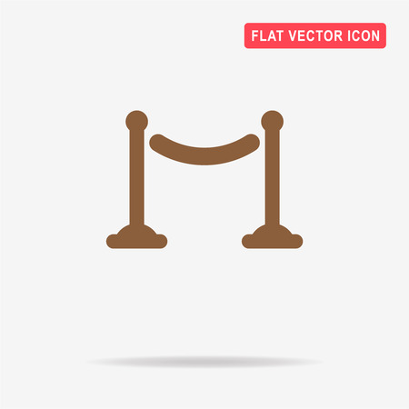 velvet rope barrier: Cinema fence icon. Vector concept illustration for design.