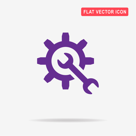 cogwheel: Wrench and gear icon. Vector concept illustration for design.