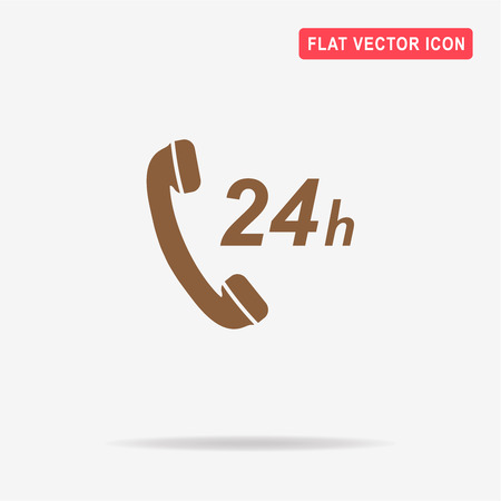 24h: 24h support icon. Vector concept illustration for design.