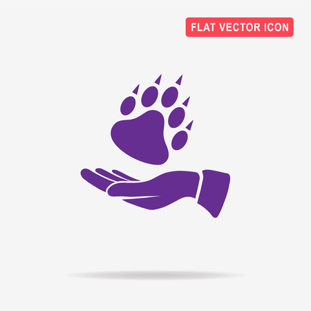 Bear paw and hand icon. Vector concept illustration for design.