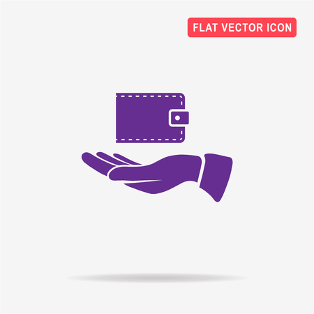 Wallet and hand icon. Vector concept illustration for design. Illustration