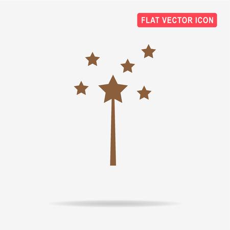 thaumaturge: Magic wand icon.  Vector concept illustration for design.