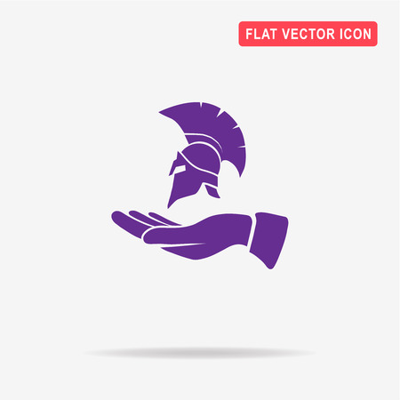 Helmet and hand icon. Vector concept illustration for design. Illustration