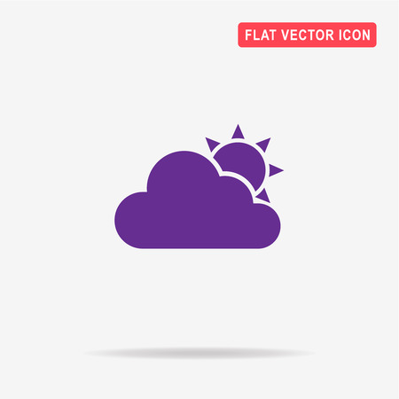 partly sunny: Sun with cloud. Vector concept illustration for design.